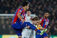 Luka Milivojevic of Crystal Palace (L) challenges Tom Davies of Everton (R). Premier League match, Crystal Palace v Everton at Selhurst Park in London on Saturday 18th November 2017.<br /> pic by Steffan Bowen, Andrew Orchard sports photography.