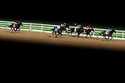 A race takes place at the Santa Anita Park on April 6th, 2020 in Santa Anita, California. (Photo by Katelyn Mulcahy)