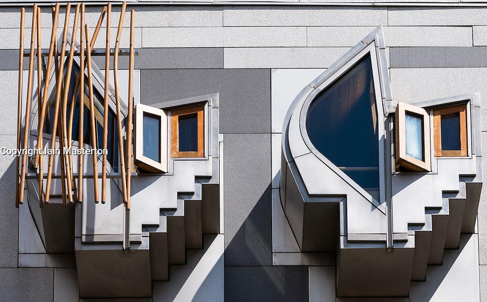 Architectural detail of windows on facade on Scottish Parliament building in Edinburgh Scotland , United Kingdom