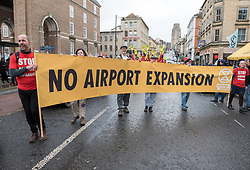 "© Licensed to London News Pictures. 31/01/2020. Bristol, UK. ""No Bristol Airport Expansion"" march and rally in the city centre, organised by Bristol Airport Action Network (BAAN) and Extinction Rebellion Bristol. Bristol Airport, which is situated in North Somerset, has plans to increase capacity for 12 million passengers a year, up from its current capacity of 10 million by 2026, and their application is due to be considered at a special meeting of North Somerset's Planning and Regulatory Committee on February 10 at 6pm. North Somerset Council officers have recommended the application be approved despite more than 5,400 objections and around 2,200 letters of support. Objections have highlighted the detrimental effects for the local communities including increased air and noise pollution, increased traffic congestion and the loss of Greenbelt land around the airport, but the urgent need to tackle climate change is one of the main reasons why people are objecting. Photo credit: Simon Chapman/LNP."