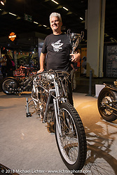 Toolmaker Pavel Malanik of the Czech Republic won 4th place in the big Freestyle Class for his entirely handmade Beast of Brooklands (including every bit of the engine from photos of an original early 20th century bike) in the AMD World Championship of Custom Bike Building in the Intermot Customized hall during the Intermot International Motorcycle Fair. Cologne, Germany. Sunday October 7, 2018. Photography ©2018 Michael Lichter.