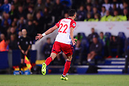 Nacer Chadli of West Bromwich Albion celebrates after he scores his teams 1st goal  to make it 0-1 .Premier league match, Leicester City v West Bromwich Albion at the King Power Stadium in Leicester, Leicestershire on Monday 16th October 2017.<br /> pic by Bradley Collyer, Andrew Orchard sports photography.