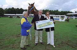 Horn Hans (NED) breeder of Mine Star<br /> Melchior Leon and Melchior Judy Ann<br /> World Championship Young Horses Lanaken 1999<br /> © Hippo Foto-Dirk Caremans