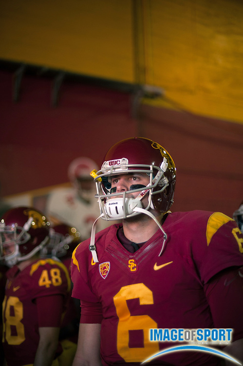 Nov 29, 2014; Los Angeles, CA, USA; Southern California Trojans quarterback Cody Kessler (6) walks out to the field for the game against the Notre Dame Fighting Irish at Los Angeles Memorial Coliseum. USC defeated Notre Dame 49-14. Photo by Ed Ruvalcaba