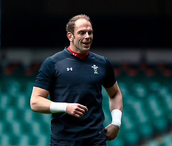 Alun Wyn Jones of Wales<br /> <br /> Photographer Simon King/Replay Images<br /> <br /> Six Nations Round 3 - Captains Run - Wales v England - Saturday 22nd February 2019 - Principality Stadium - Cardiff<br /> <br /> World Copyright © Replay Images . All rights reserved. info@replayimages.co.uk - http://replayimages.co.uk