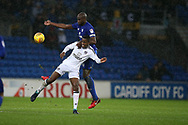 Ryan Sessegnon of Fulham is challenged by Sol Bamba of Cardiff city.   EFL Skybet championship match, Cardiff city v Fulham at the Cardiff city stadium in Cardiff, South Wales on Boxing Day, Tuesday 26th December 2017.<br /> pic by Andrew Orchard, Andrew Orchard sports photography.
