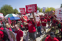 April 27, 2018 - Phoenix, Arizona, U.S - Educators and supporters gather during the second day of school walkouts on Friday at Arizona State Capitol in Phoenix. Teachers, counselors and other school staff have been rallying for increased education funding under the hashtag #RedForEd. (Credit Image: © Ben Moffat/via ZUMA Wire via ZUMA Wire)