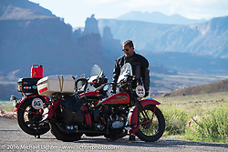 Vinnie Grasser with his 1930 Harley-Davidson VL on Utah Highway 128 along the Colorado River north of Moab during stage 11 (289 miles) of the Motorcycle Cannonball Cross-Country Endurance Run, which on this day ran from Grand Junction, CO to Springville, UT., USA. Tuesday, September 16, 2014.  Photography ©2014 Michael Lichter.