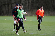 James Hook of Wales in action. Wales rugby team training at the Vale, Hensol near Cardiff, South Wales on Tuesday 12th March 2013.  the team are training ahead of the final RBS Six nations match against England this weekend. pic by  Andrew Orchard, Andrew Orchard sports photography,