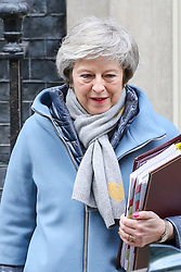 © Licensed to London News Pictures. 09/01/2019. London, UK. Prime Minister Theresa May departs from Number 10 Downing Street to attend Prime Minister's Questions (PMQs) in the House of Commons.  Photo credit: Dinendra Haria/LNP
