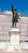 José Estevão statue in Praça da República, Aveiro, Portugal. José Estêvão (José Estêvão Coelho de Magalhães) was a Portuguese journalist born December 26, 1809, in Aveiro, Portugal