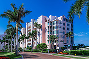 Resort condominium building on Barefoot Beach Road, Bonita Springs, Florida, USA.