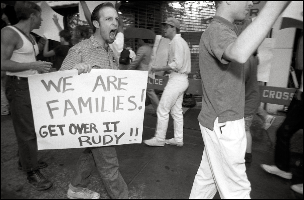 ACT UP protested a breakfast where then mayoral candidate, Rudy Giuliani, was speaking to political leaders from the GLBTQ, hosted by Virginia Appuzo, in July of 1989.