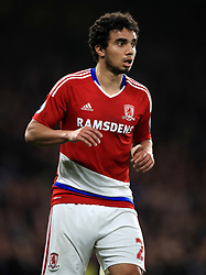 """Middlesbrough's Fabio Pereira da Silva during the Premier League match at Stamford Bridge, London. PRESS ASSOCIATION Photo. Picture date: Monday May 8, 2017. See PA story SOCCER Chelsea. Photo credit should read: Mike Egerton/PA Wire. RESTRICTIONS: EDITORIAL USE ONLY No use with unauthorised audio, video, data, fixture lists, club/league logos or """"live"""" services. Online in-match use limited to 75 images, no video emulation. No use in betting, games or single club/league/player publications."""