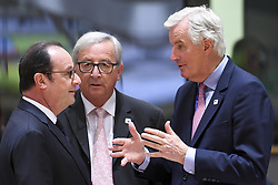 April 29, 2017 - Brussels, BELGIUM - France's President Francois Hollande, European Commission President Jean-Claude Juncker and Michel Barnier pictured during an EU summit meeting concerning Brexit, Saturday 29 April 2017, at the European Union headquarters in Brussels. BELGA PHOTO Pool Frederic Sierakowski (Credit Image: © Pool Frederic Sierakowski/Belga via ZUMA Press)