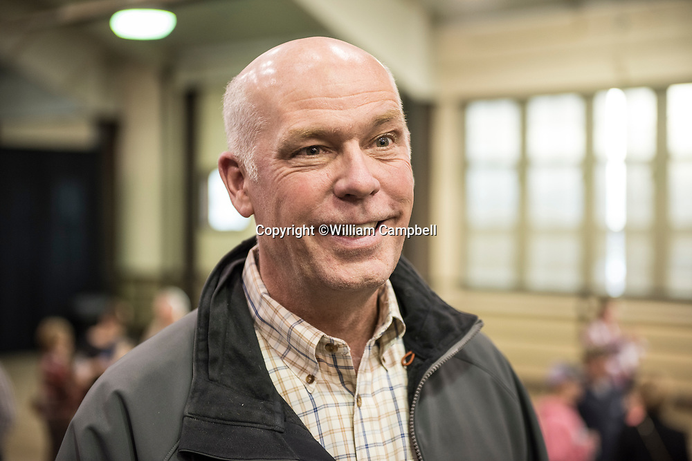 Republican Greg Gianforte campaigning in Bozeman for the Montana House of Representatives seat vacated by the appointment of Ryan Zinke to head the Department of Interior. Gianforte was campaigning with Donald Trump. Jr. Gianforte is running against democrat Rob Quist in the special election to be held on May 25, 2017.