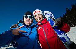 Peter Kastelic and Zan Kosir during training of Snowboarding Team Slovenia prior to the 2015 FIS Freestyle Ski and Snowboard World Championships in Kreischberg (AUT) on January 13, 2015 in Rogla, Slovenia. Photo by Vid Ponikvar / Sportida
