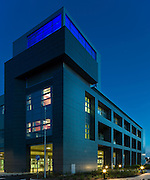 andy spain architectural photography oxford churchill hospital main entrance at night steffian bradley architects sba