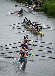 © Licensed to London News Pictures.13/06/15<br /> Durham, England<br /> <br /> Rowing boats make their way to a landing point after racing during the 182nd Durham Regatta rowing event held on the River Wear. The origins of the regatta date back  to commemorations marking victory at the Battle of Waterloo in 1815. This is the second oldest event of this type in the country and attracts over 2000 competitors from across the country.<br /> <br /> Photo credit : Ian Forsyth/LNP