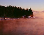 Sea smoke rising from warm water of Lake Superior on a -15ºF morning, Split Rock Lighthouse, Split Rock Lighthouse State Park, Minnesota.