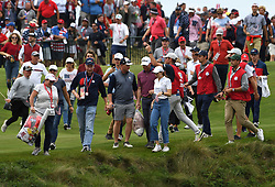 Spectators rush to witness the closing ceremony at the end of day three of the 43rd Ryder Cup at Whistling Straits, Wisconsin. Picture date: Sunday September 26, 2021.
