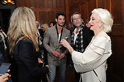 SAMANTHA BLRNK; DAVID GANDY; DAVID DOWNTON; CARMEN DELL'OREFICE; , London College of Fashion hosts party to celebrate the opening of Carmen: A Life in Fashion with guest of honour Carmen Dell'Orefice. Il Bottachio, Hyde Park Corner. London. 16 November 2011. <br /> <br />  , -DO NOT ARCHIVE-© Copyright Photograph by Dafydd Jones. 248 Clapham Rd. London SW9 0PZ. Tel 0207 820 0771. www.dafjones.com.