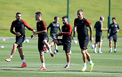 Sergio Aguero of Manchester City warms up with Nicolas Otamendi and Aleksander Kolarov - Mandatory by-line: Matt McNulty/JMP - 23/08/2016 - FOOTBALL - Manchester City - Training session ahead of Champions League qualifier against Steaua Bucharest