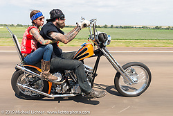 Pinky and Jon Barwood on the annual Michael Lichter - Sugar Bear Ride hosted by Jay Allen from the Easyriders Saloon during the Sturgis Black Hills Motorcycle Rally. SD, USA. Sunday, August 3, 2014.  Photography ©2014 Michael Lichter.
