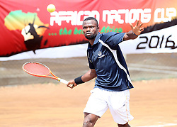 Denis Indondo of Congo returns a shot to Moez Echargui of Tunisia during their 14th African Nations Cup (CAN) 2016 teams competition at Nairobi Club on November 12, 2016. Idondo won 4-6, 6-0, 6-1. Photo/Fredrick Onyango/www.pic-centre.com (KEN)