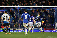 Ross Barkley of Everton (20) scores his teams 3rd goal from the penalty spot. Barclays Premier League match, Everton v Newcastle United at Goodison Park in Liverpool on Wednesday 3rd February 2016.<br /> pic by Chris Stading, Andrew Orchard sports photography.
