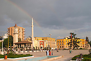 The Ethem Bey Beu Mosque. View across the square. The Tirana Main Central Square, Skanderbeg Skanderburg Square. Tirana capital. Albania, Balkan, Europe.