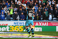 Fernando Forestieri of Sheffield Wednesday celebrates after scoring his teams 1st goal. Skybet football league Championship match, Huddersfield Town v Sheffield Wednesday at the John Smith's Stadium in Huddersfield, Yorkshire on Saturday 2nd April 2016.<br /> pic by Chris Stading, Andrew Orchard sports photography.