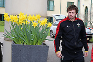 Leigh Halfpenny of Wales looks on after the Wales rugby team announcement press conference at the Vale Resort, Hensol near Cardiff, South Wales on Thursday 16th March 2017. The team are preparing for their final RBS Six nations match away to France this weekend. <br /> pic by  Andrew Orchard, Andrew Orchard sports photography.