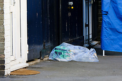 © Licensed to London News Pictures. 02/05/2019. London, UK. A bag containing medical kit next to the police tent on Somerford Grove in Hackney Downs in north London where a 15 years old was stabbed and pronounced dead at the scene at 9.49 pm on Wednesday 1 May 2019. Photo credit: Dinendra Haria/LNP