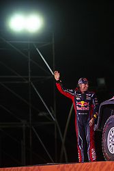 LIMA, Jan. 7, 2019  French driver Stephane Peterhansel waves to the audience during the departure ceremony at the 2019 Dakar Rally Race, Lima, Peru, on Jan. 6, 2019. The 41st edition of Dakar Rally Race kicked off in Lima, Peru. (Credit Image: © Xinhua via ZUMA Wire)