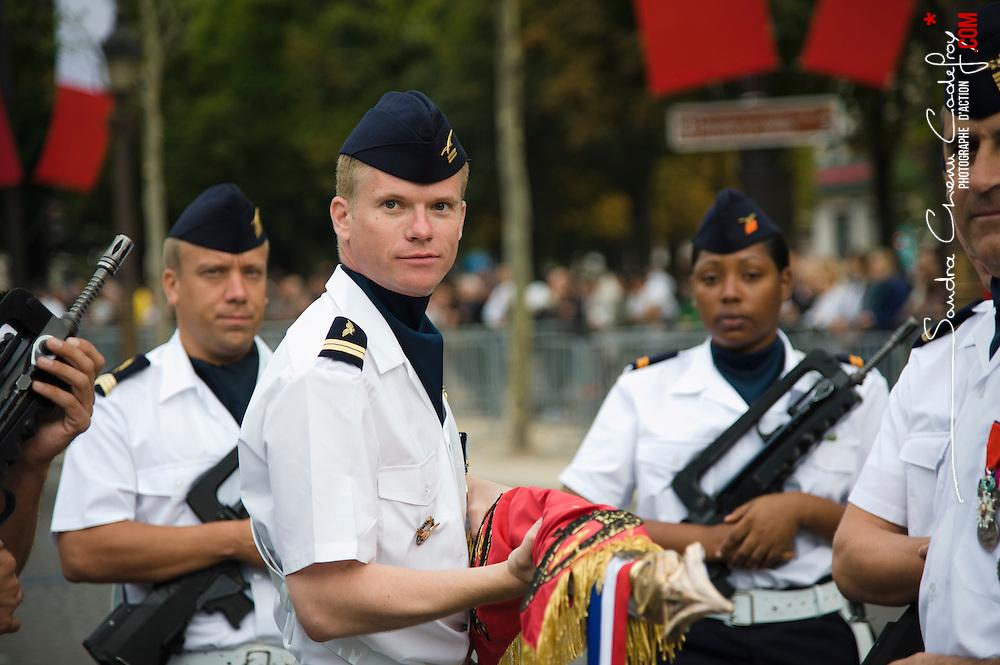 Célébration du 14 juillet, fête nationale française, mettant à l'honneur en 2011 les territoires et les français d'outre-mer. Défilé militaire sur les Champs Elysées devant le président de la République.<br /> juillet 2011 / Paris (75) / FRANCE<br /> Cliquez ci-dessous pour voir le reportage complet (149 photos) en accès réservé<br /> http://sandrachenugodefroy.photoshelter.com/gallery/2011-07-Defile-militaire-du-14-juillet-2011-Complet/G0000BAMVo2NnAb0/C0000yuz5WpdBLSQ
