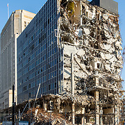 Demolition of Mies Van der Rohe-designed Board of Education (and formerly downtown Kansas City Public Library) in Downtown Kansas City, Missouri. October 2020.