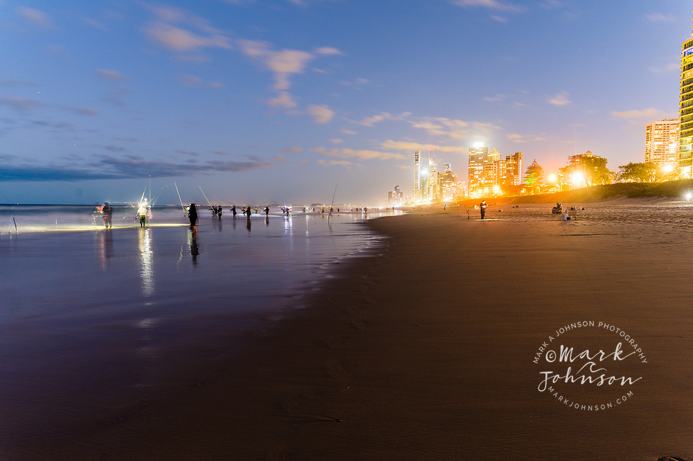 Night fishing for tailor, Narrowneck, Gold Coast, Queensland, Australia