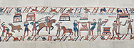 Bayeux Tapestry scene 41 - 42:  Cooks are supervised by Wadar, one of Williams servants. BYX41 - BYX42 .<br /> <br /> If you prefer you can also buy from our ALAMY PHOTO LIBRARY  Collection visit : https://www.alamy.com/portfolio/paul-williams-funkystock/bayeux-tapestry-medieval-art.html  if you know the scene number you want enter BXY followed bt the scene no into the SEARCH WITHIN GALLERY box  i.e BYX 22 for scene 22)<br /> <br />  Visit our MEDIEVAL ART PHOTO COLLECTIONS for more   photos  to download or buy as prints https://funkystock.photoshelter.com/gallery-collection/Medieval-Middle-Ages-Art-Artefacts-Antiquities-Pictures-Images-of/C0000YpKXiAHnG2k