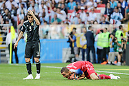 Hannes Halldorsson of Iceland and Nicolas Tagliafico of Argentina during the 2018 FIFA World Cup Russia, Group D football match between Argentina and Iceland on June 16, 2018 at Spartak Stadium in Moscow, Russia - Photo Thiago Bernardes / FramePhoto / ProSportsImages / DPPI