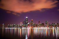 Downtown Chicago on Lake Michigan (Night)