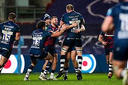 Sam Bedlow of Bristol Bears celebrates with his teammates a successful kick as Bristol Bears win 18-17 with the final penalty kick of the game - Rogan/JMP - 04/12/2020 - RUGBY UNION - Ashton Gate Stadium - Bristol, England - Bristol Bears v Northampton Saints - Gallagher Premiership Rugby.
