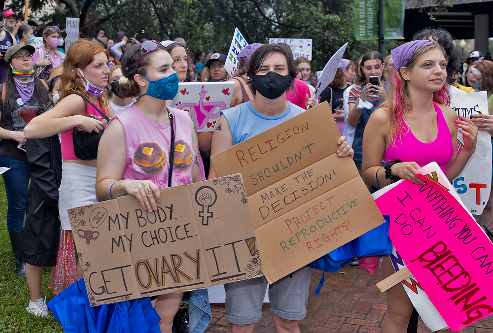 Women's March for reproductive rights in New Orleans, LA on Oct 2, 2021.