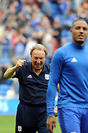 Cardiff City manager Neil Warnock (background) celebrates after his team beat Aston Villa. EFL Skybet championship match, Cardiff city v Aston Villa at the Cardiff City Stadium in Cardiff, South Wales on Saturday 12th August 2017.<br /> pic by Carl Robertson, Andrew Orchard sports photography.