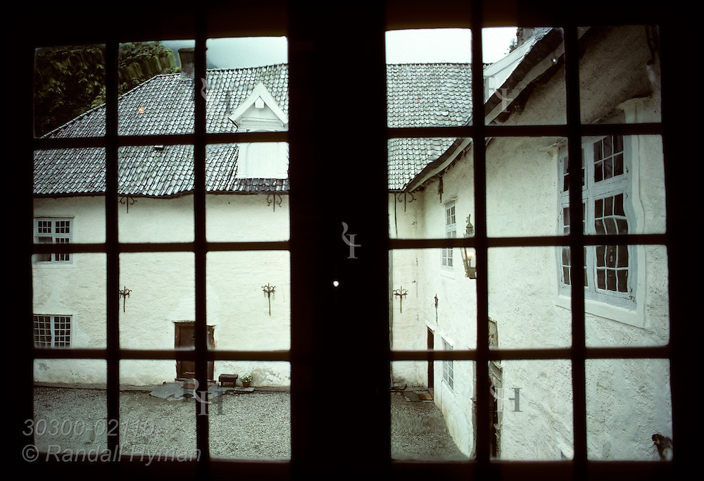 Courtyard view from window of the Barony (built 1665) near town of Rosendal. Norway