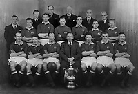 Manchester United team group with Manager Matt Busby (Centre). F A Cup Winners of 1948. Back Row : L to R. W.H.Petheridge (Director),A.Gibson (Director),George Whittaker (Director),Dr.W.MacLean (Director),Harold Hardman (Director) Also Chairman in 1951 to 1965 .<br /> Middle row : Walter Crickmer (Secretary),J Anderson,Alenby Chilton,Jack Crompton,John Aston,Henry Cockburn,J Warner. Sitting : J Delaney,J Morris,Johnny Carey,Matt Busby (Manager),Jack Rowley,Stan Pearson,Charlie Mitten. Credit: Colorsport