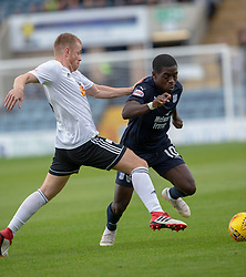 Ayr United's Michael Rose and Dundee's Elton Ngwatala. half time : Dundee 0 v 0 Ayr United, Scottish League Cup Second Round, played 18/8/2018 at the Kilmac Stadium at Dens Park, Scotland.