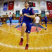 Anadolu Efes's Emircan Kosut warms-up prior to their Turkish Basketball Super League match Istanbul BBSK between Anadolu Efes at Cebeci Arena in Istanbul Turkey on Sunday 29 November 2015. Photo by Aykut AKICI/TURKPIX