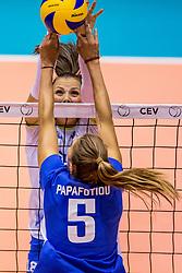23-08-2017 NED: World Qualifications Greece - Slovenia, Rotterdam<br /> SloveniÎ wint met 3-0 / Athina Papafotiou #5 of Greece, Sasa Planinsec #18 of Slovenia<br /> Photo by Ronald Hoogendoorn / Sportida