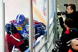 Frank Banham (KHL Medvescak Zagreb, #38) during ice-hockey match between KHL Medvescak Zagreb and HK Acroni Jesenice in 39th Round of EBEL league, on Januar 8, 2012 at Arena Zagreb, Zagreb, Croatia. (Photo By Matic Klansek Velej / Sportida)